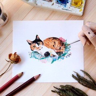 Customized pet flower hand-painted watercolor illustration - A5 size body frame