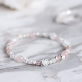 Upgrade White Moonstone + Pink Crystal. Special Design / Natural ore bracelet warm and soft good karma attracts beautiful love delicate exquisite translucent 925 sterling silver bracelet