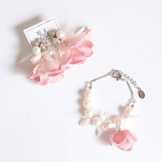 2 piece set handmade bead flower flower earrings / ear clips true pearl sterling silver bracelet wedding sister gift