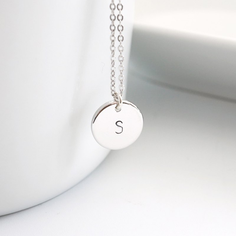 925 Sterling Silver Initial Plate Necklace