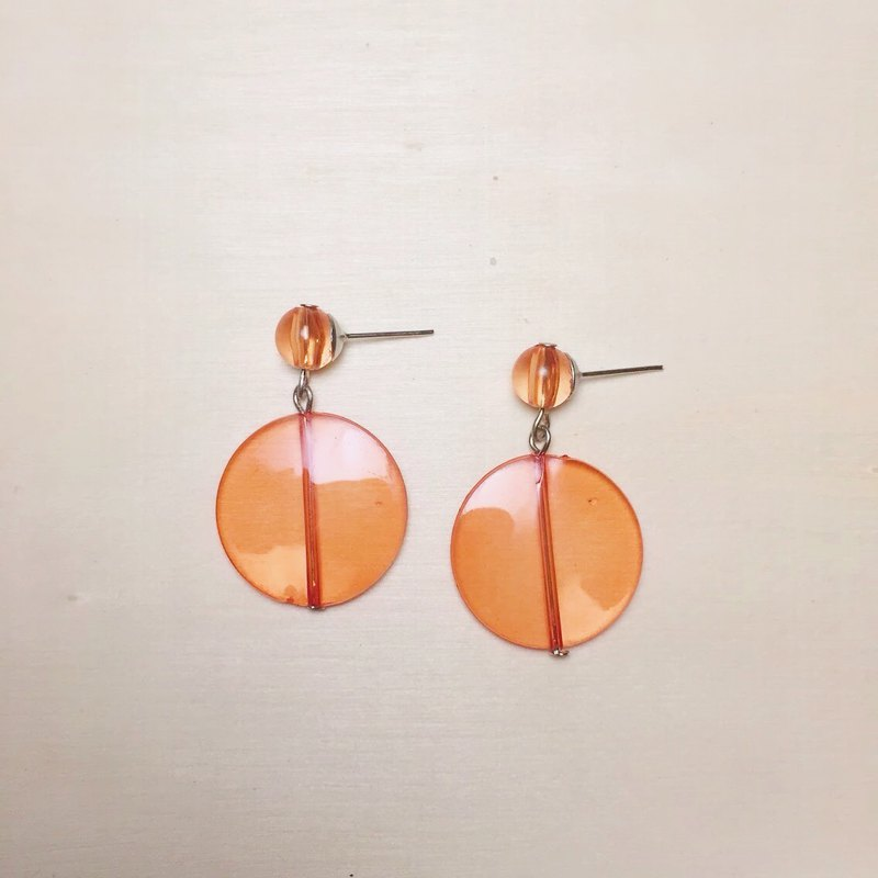 Waterproof Acrylic Transparent Orange Round Earrings