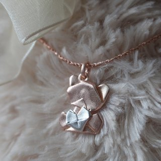 Bear My Love - 925 Silver Origami Bear My Love Necklace (Rose Gold/Matte)