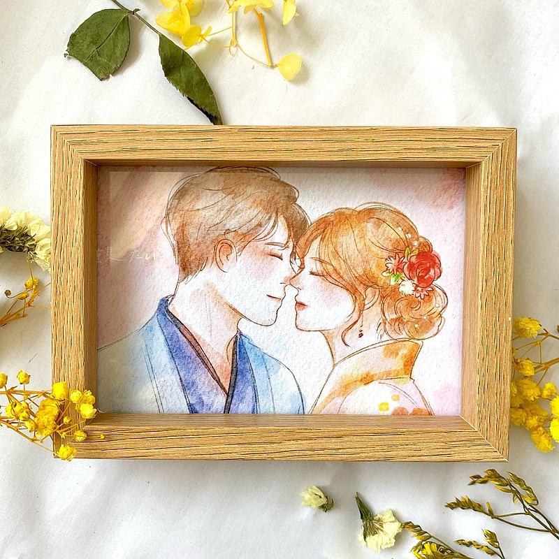 【SUNO 客製手繪×木質相框】似顏繪 生日 情侶 禮物 寵物