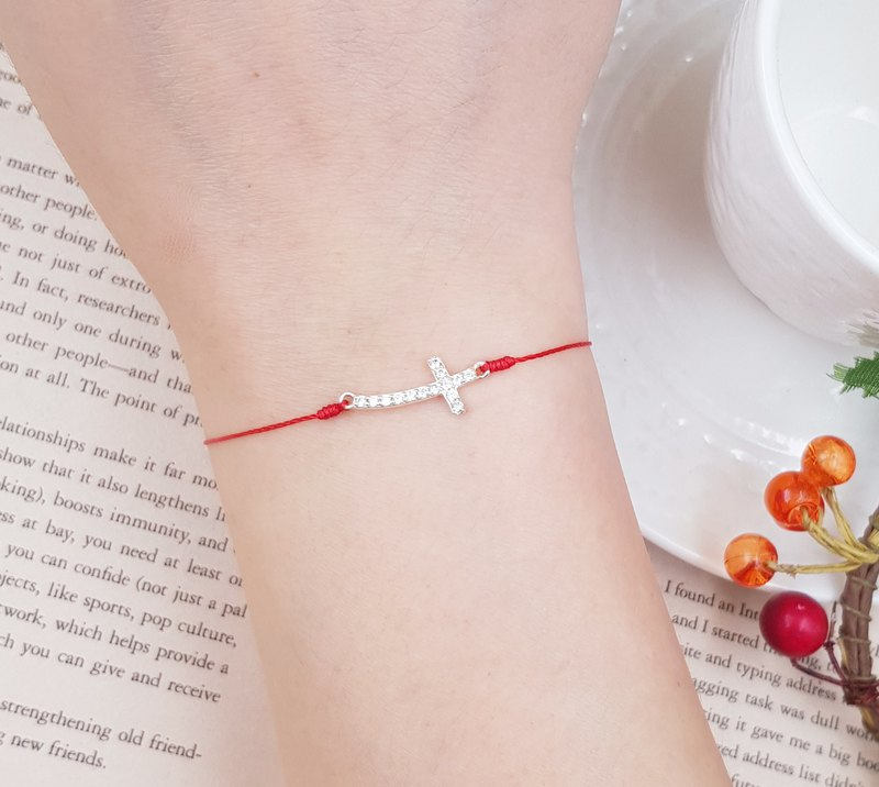 Sterling silver cross rhinestone red line bracelet single diamond loose diamond marriage line month old hand rope cross