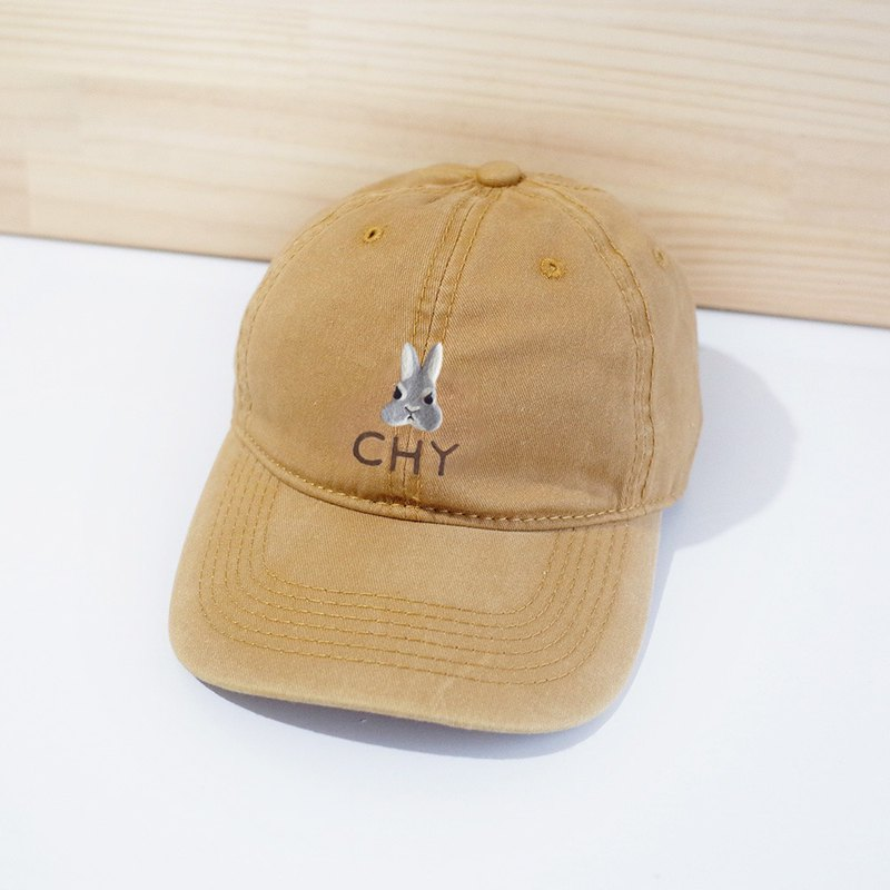 [Q-cute] hat series - rabbit head plus words / customized / retro wind baseball cap