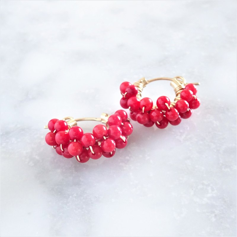 14kgf Red Coral*wrapped pierced earring / earring