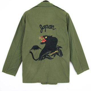 Back to Green :: Military Embroidered Shirt Jacket Night Panthers // Men and Women Wearable // vintage (J-04)