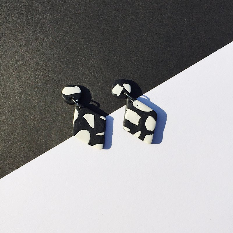 Handmade clay earrings, clay polymer earrings, Black & White collection
