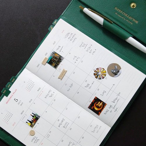 PDA calendar -2017 Love Stationery wallet calendar (aging) - forest green, PPC93204