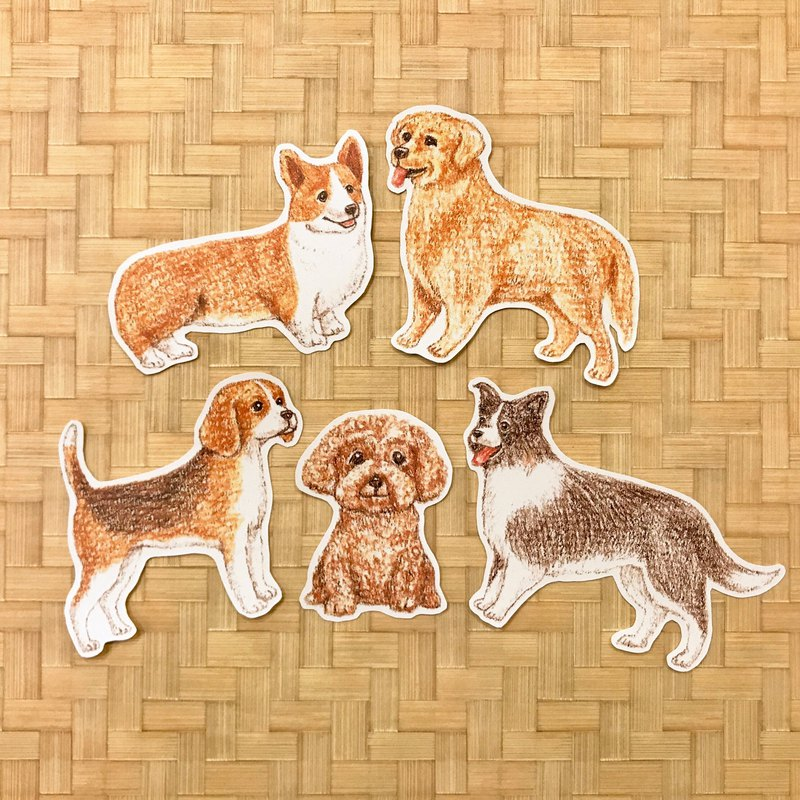 Color pencils hand drawn face dog waterproof sticker group 5 into