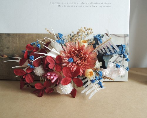 Sweet ‧ circle handmade Ninagawa Mika Preserved red hydrangea blue stars eucalyptus wood lily fruit dried flowers Helichrysum Amaranth big fat plug bridal hair accessories hair accessories Spot