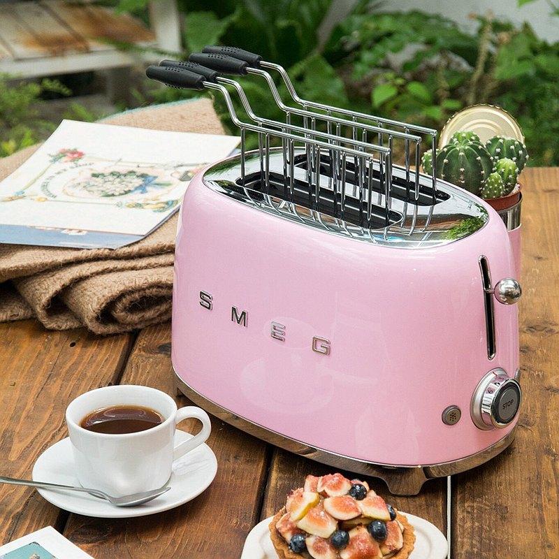 【SMEG】義大利復古美學 2片式烤麵包機-粉紅色