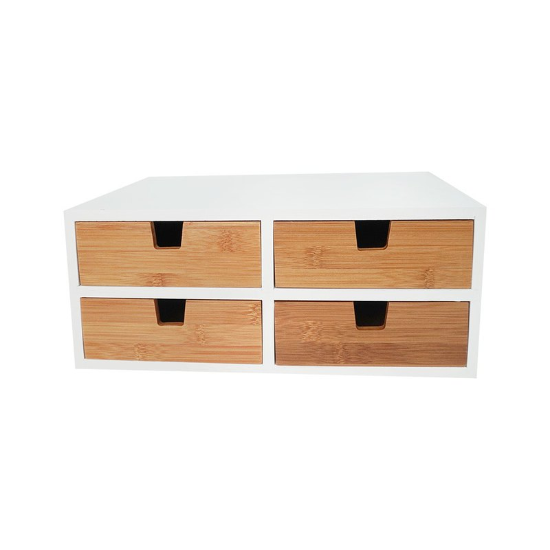 Welfare goods / double-layer four bamboo bamboo drawer box (2+2) / home storage