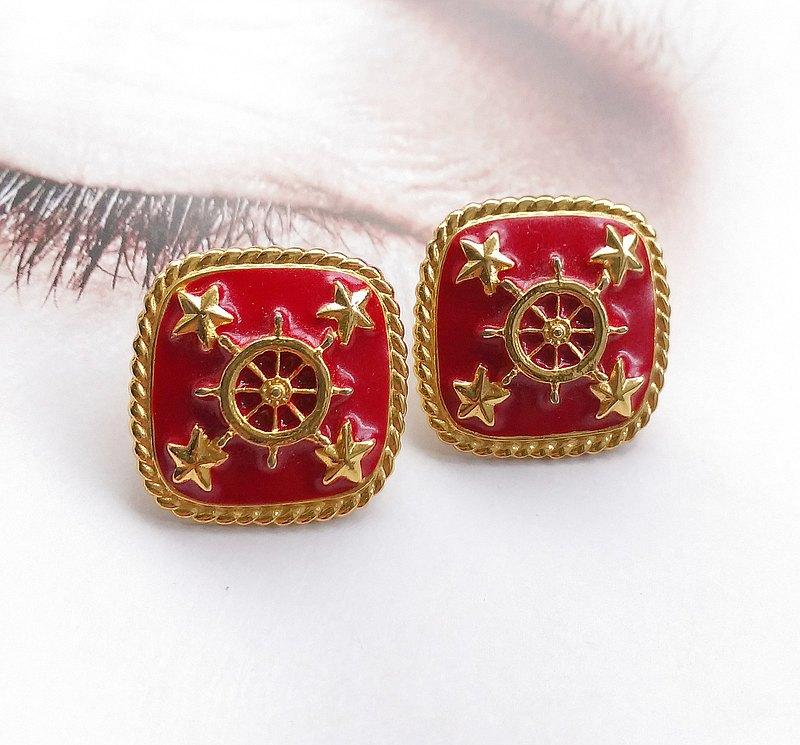 紅琺瑯 船舵  針式耳環。西洋古董飾品