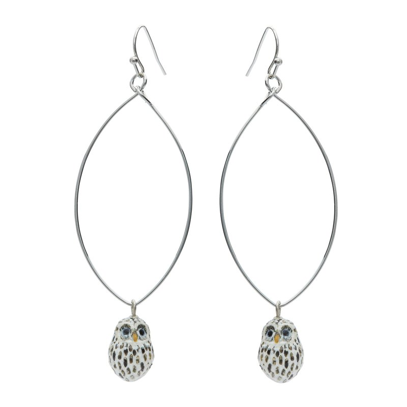 And Mary Tiny Baby Snow Owl earrings | Gift Box