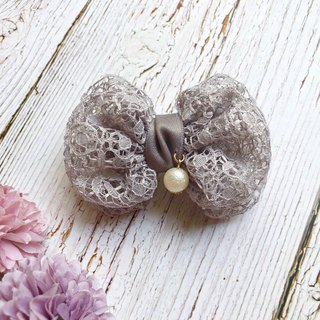 Double layer lace round bow hair clip / fog gray