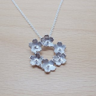 Sakura cherry wreath / sterling silver pendant necklace
