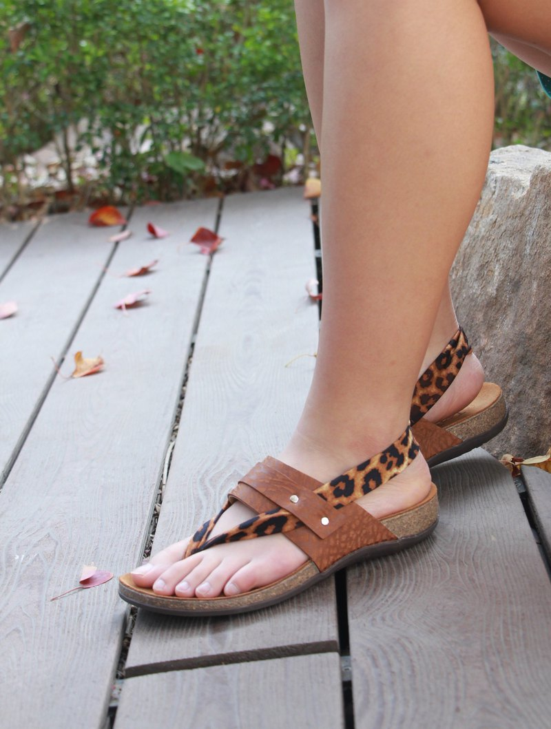 [Starry Love Leopard] Lycra Leather Sandals / Stretch Lycra Lace / Cork Comfort Air Cushion