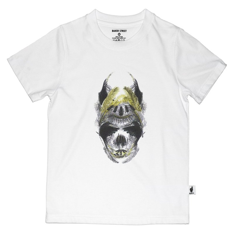 British Fashion Brand -Baker Street- Golden Feather Skull T-shirt for Kids