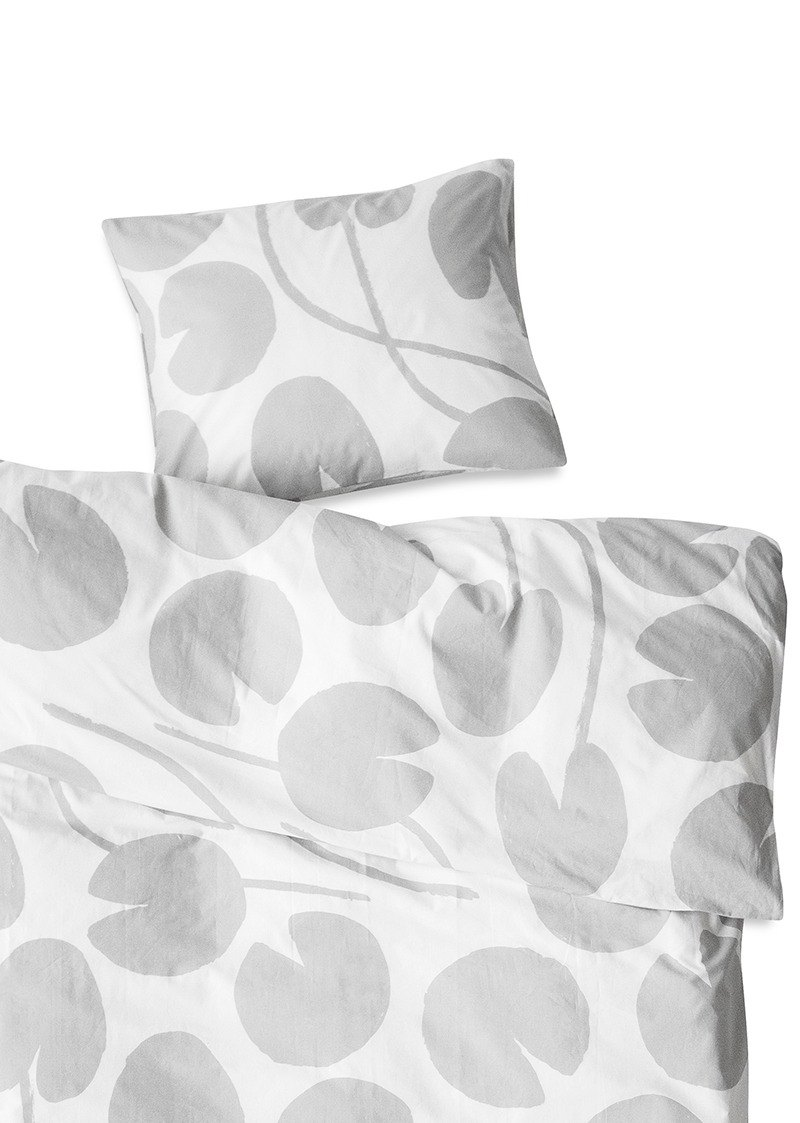 Organic quilt cover pillowcase two-piece – WATER LILIES BED SET, GREY