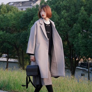 Twill wool coat | coat | autumn and winter models | twill hair | independent brand | Sora-204