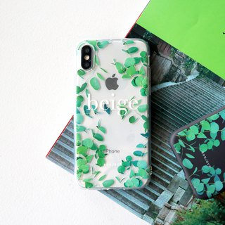 Daylight eucalyptus leaf transparent phone case