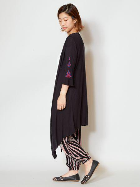 yul long cardigan with rayon jersey embroidery