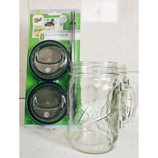 Ball Mason Jar Mason jar set _24oz wide mouth mug*2+ wide mouth straw cup set*1