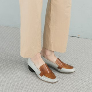 H THREE round head 3.4 Lok Fu heel / fog white with sand brown / with shoes / shoes