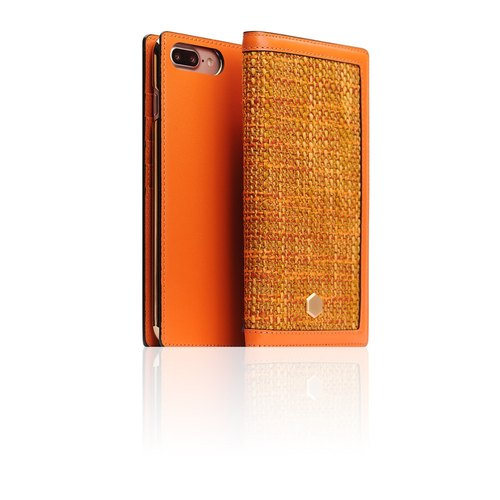 SLG Design iPhone 7 Plus D5 CSL Canvas Mixing Wind Side Lifting Leather Case - Orange