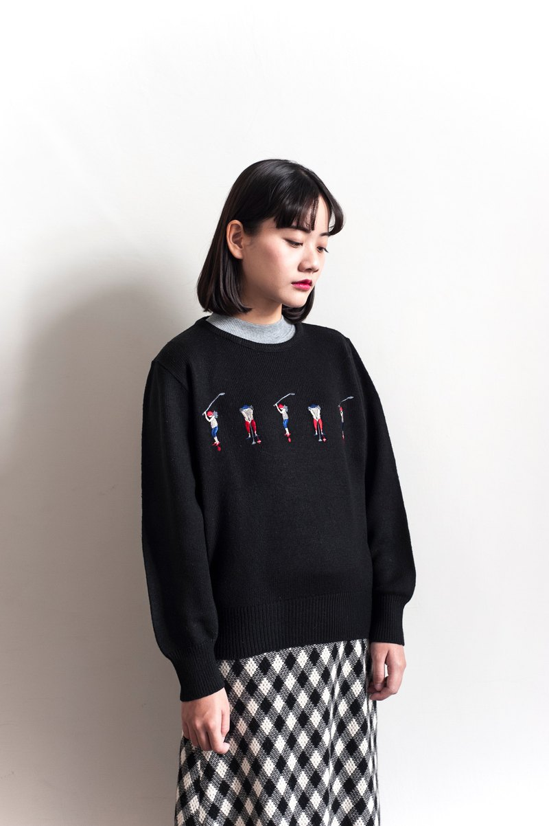 Vintage embroidery golf vintage sweater