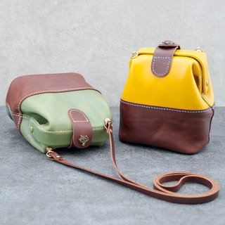 Be Two ∣ Small doctor bag/color interface gold bag/leather shoulder back/leather side back (multicolor)