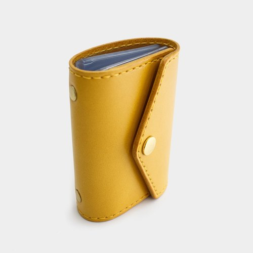 RENEW - Vegetable tanned leather leather hand stitch large capacity card holder / card holder / business card holder goose yellow
