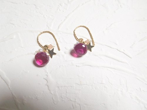 Red corundum cute hook earrings