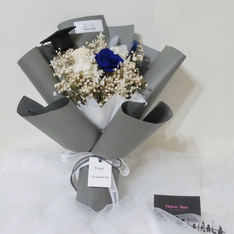 Graduation Qualification - Always Maintain Your Heart - Blue Everlasting Rose