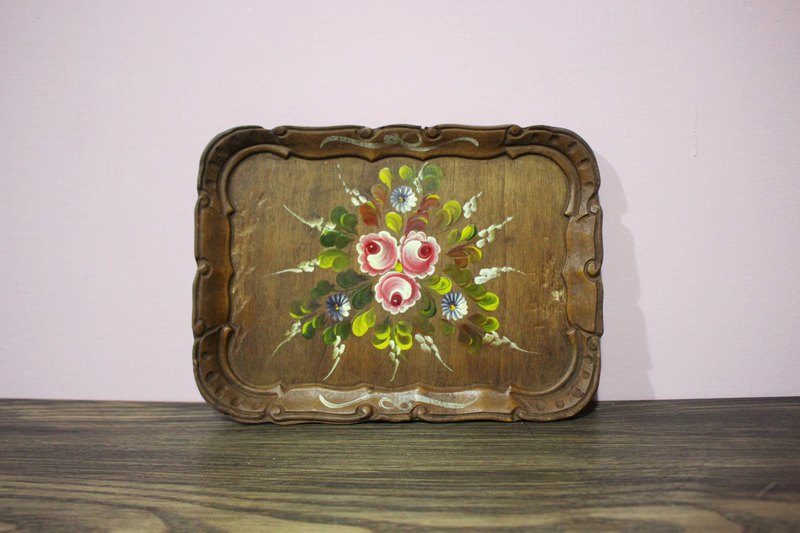 Fairy Farm Factory Antique Store (Edwardly) European Antique Hand-Drawn Flower Wood Pallet Jewelry Plate