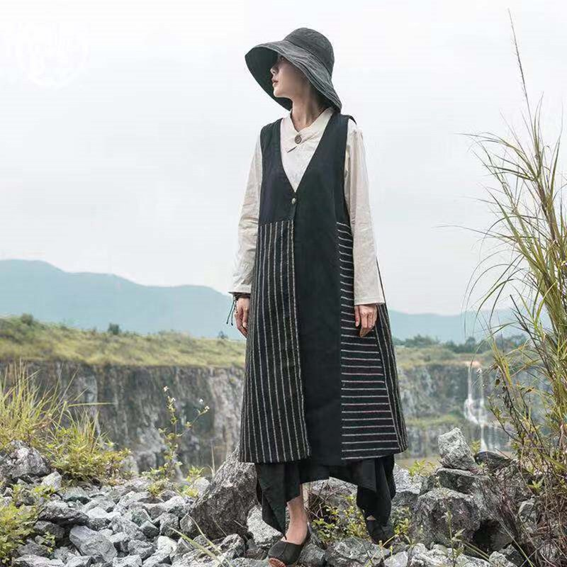 Literary wind vest female long section cotton and linen loose vest cardigan coat