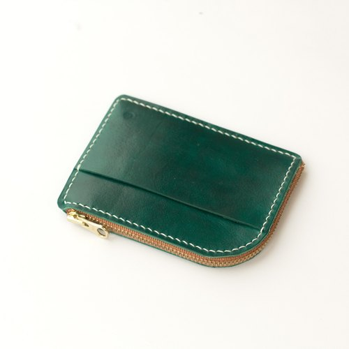 All handmade tanned leather leather - zipper wallet - dyeing version