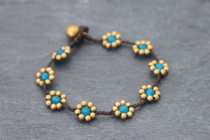 Daisy Light Blue Braided Bracelets Raw Brass Beads Cute Folk