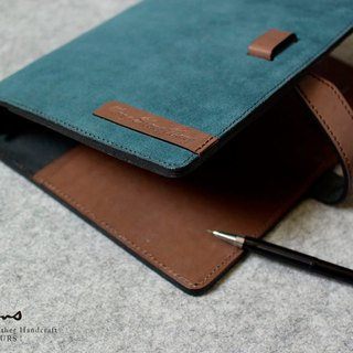 YOURS A5-Size leather loose-leaf notebook inserts special layered layer blue blue leather + dark wood