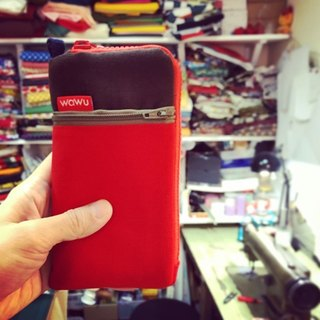 Mobile phone pocket (coffee & red fabric)