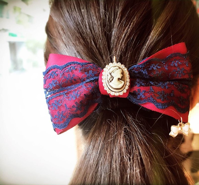 [Beautiful temperament small romantic French clip] handmade hair bow hair clip