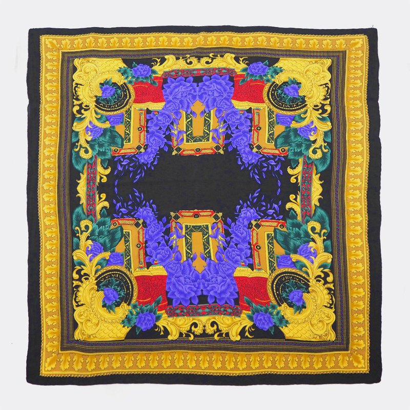 Gorgeous black frame classical court antique silk scarf BO0002