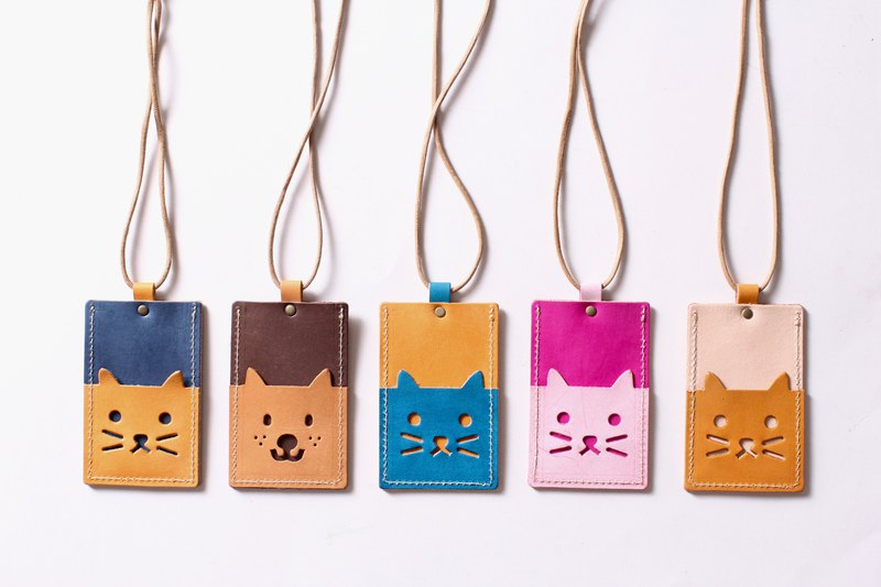 Cat Island leather ID set gogoro3 card set with neck rope [free custom lettering 1-7 words]