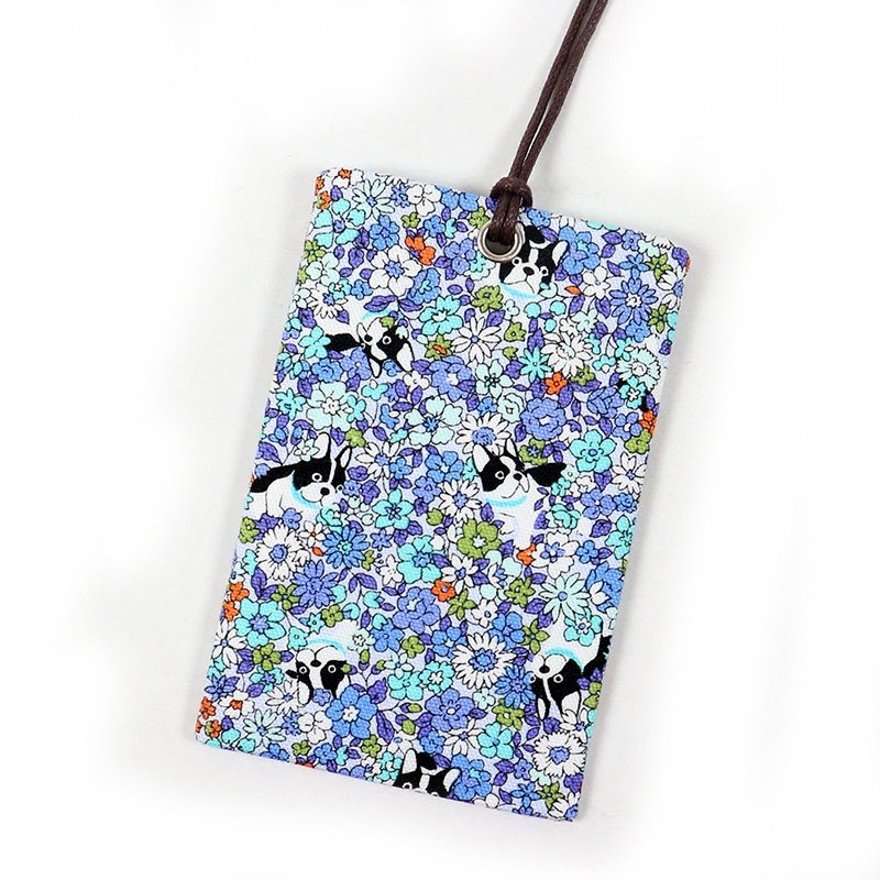 Youyou card ID card set card holder card bag - Bulldog (flower) - sea blue