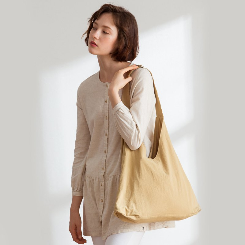 Luna linen side backpack + 3 inner pocket [earth brown]