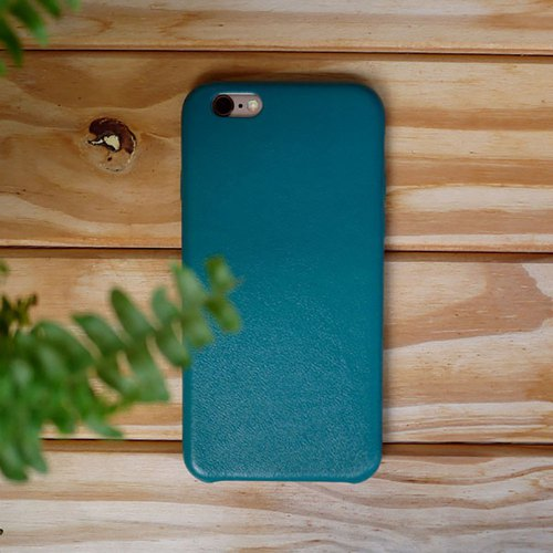 "AOORTI :: Apple iPhone 6s plus - 5.5 ""Handmade Leather Cowhide Case / Blue - Green"