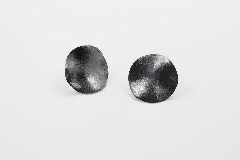Geometric Series Irregular circle 925 oxidised silver earrings