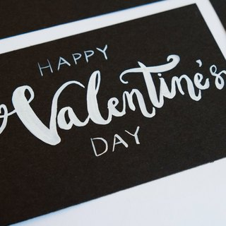 handwritten lettering original copy postcard for Valentine's Day