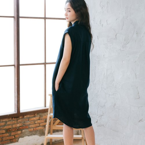 Shades Of Blue Linen Dress